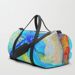 BLUE DRAGONFLY PINK ROSES BOHEMIAN  FANTASY ART Duffle Bag