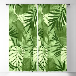 Green Tropical Leaves Pattern Blackout Curtain