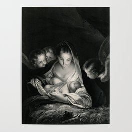 The Nativity, Virgin Mary with Infant Jesus surrounded by Angels Poster