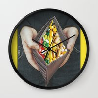 pills Wall Clocks featuring pills by marzesu collages
