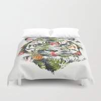 tropical Duvet Covers featuring Tropical tiger by Robert Farkas