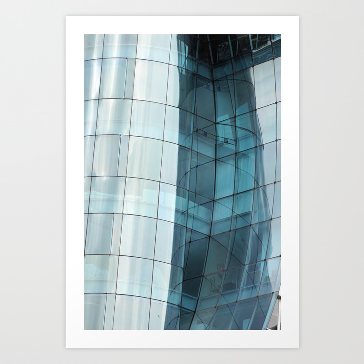 Reflections in a curved glass building art print