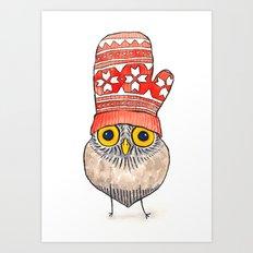 mitten owl Art Print