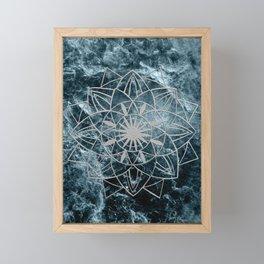 Star Mandala on Enigmatic Deep Blue Ocean Marble #1 #decor #art #society6 Framed Mini Art Print
