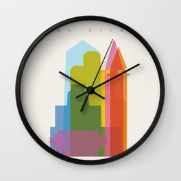 Shapes of San Diego Wall Clock