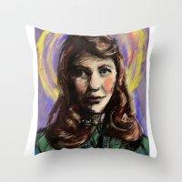 sylvia plath Throw Pillows featuring St. Sylvia Plath by Buttons McTavish