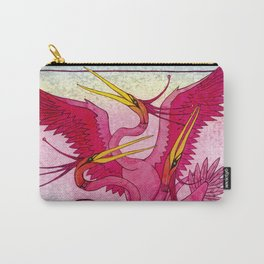 Birds red and very beautiful dance on the shore Carry-All Pouch
