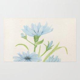 Watercolor Garden Flower Blue Cornflower Wildflower Rug