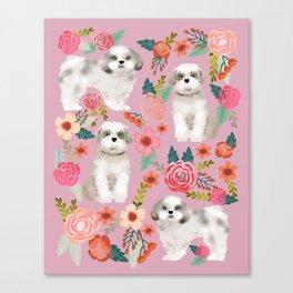 Shih Tzu florals love gift for dog person pet friendly portrait dog breeds unique small puppy Canvas Print