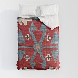 Blue Diamond Arrow Konya II // 19th Century Authentic Colorful Red Cowboy Accent Pattern Comforters