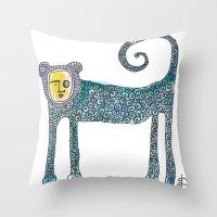 monkey Throw Pillows featuring Monkey by Dawn Patel Art