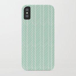 Herringbone Mint Inverse iPhone Case