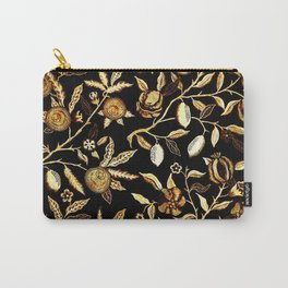 Pomegranate Pattern Gold On Black Carry-All Pouch