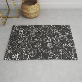 Watercolor Chinoiserie Block Floral Print in Black Ink Porcelain Tiles Rug