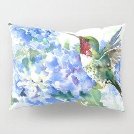 Hydrangea Flowers and Ruby Throat Hummingbird Pillow Sham