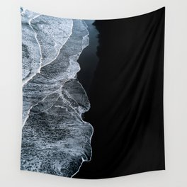 Waves on a black sand beach in iceland - minimalist Landscape Photography Wall Tapestry