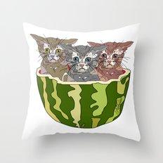 Watermelon Cats Throw Pillow