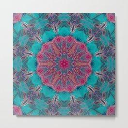 Pink Turquoise Kaleidoscope Mandala - Abstract Art by Fluid Nature Metal Print
