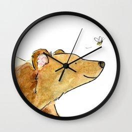 Bear & Bee Watercolor Wall Clock