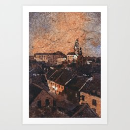 Cesky Krumlov sunset painting- Czech Republic Art Print