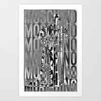 moschino Art Prints featuring obsessed moschino by Claudio Velázquez
