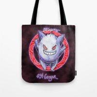 gengar Tote Bags featuring 94 - Gengar by Lyxy