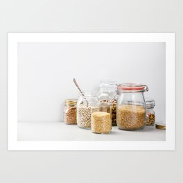 grains, legumes and nuts on concrete background Art Print