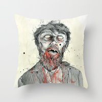 zombie Throw Pillows featuring Zombie! by Chris Gauvain
