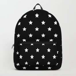 Black Background With White Stars Pattern Backpack