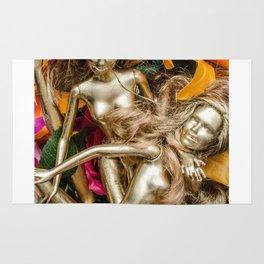 golden barbie with flower Rug