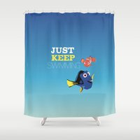 nemo Shower Curtains featuring just keep swimming with nemo and dory by studiomarshallarts
