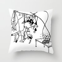 tape Throw Pillows featuring Tape by Dan Ashwood