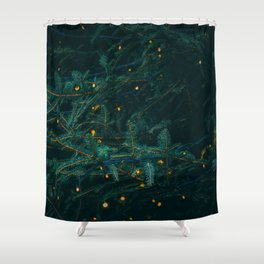 Evergreen and Golden Lights (Color) Shower Curtain
