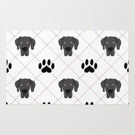 Black Great Dane Paw Print Pattern Rug