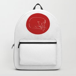 Relaxing Cat in red circle Backpack