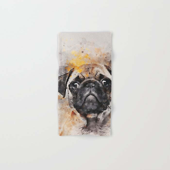 Pug Puppy Using Watercolor On Raw Canvas Hand & Bath Towel