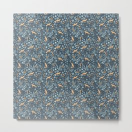 Fox Meadow - folk florals navy Metal Print