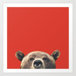 Bear - Red Art Print