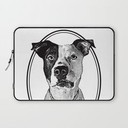 Pit Bull with oval frame Laptop Sleeve