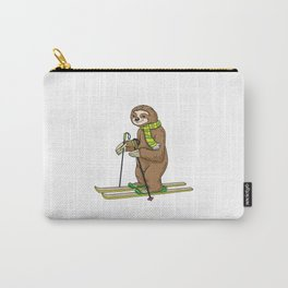 Beautiful sloth at skiing Carry-All Pouch