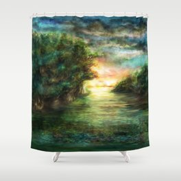 Sunset painting 1 Shower Curtain