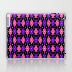 Pink and Purple Argyle Pattern On Black Laptop & iPad Skin