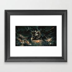 Godzilla vs Kingkong Blue Orange  Framed Art Print