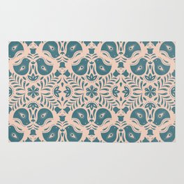 Scandinavian Folk Art (Blue) Rug
