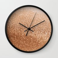 copper Wall Clocks featuring COPPER by Monika Strigel