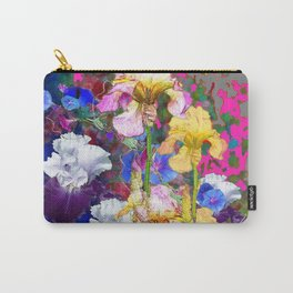 PINK-YELLOW PURPLE IRIS GARDEN GREY ART Carry-All Pouch