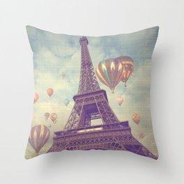 Balloons over Paris Throw Pillow