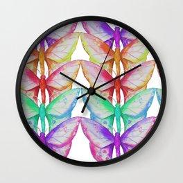 Rainbow Moths Wall Clock