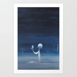 Girl on Moon Delighted to Discover Milk-Well Art Print