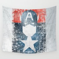 superhero Wall Tapestries featuring Yankee Captain grunge superhero by melted